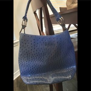 Nwot blue ostrich look purse with leopard lining